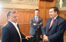 "Photo: Mr. Orban (left) with Mr. Saakashvili (right)  and ""boychik"" Péter Szíjjártó  Hungarian foreign minister-designate in the middle."