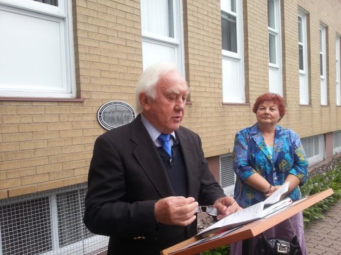 Hungary's honourary consul Gyula Szentmihályi at the Our Lady of Hungary Parish unveiling.