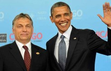 AFP file photo. US President Barack Obama (R) greets Prime Minister of Hungary Viktor Orb·n at McCormick Place in Chicago, Illinois, during the NATO 2012 Summit May 20, 2012 . AFP PHOTO Jim WATSON.