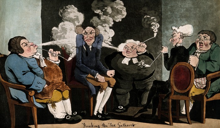 Four men sit round the tax man and blow smoke in his face / C. Wellcome. Source: Wikimedia Commons.