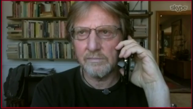 András Göllner speaking to HuffPost over Skype. Photo: Video capture from HuffPost.