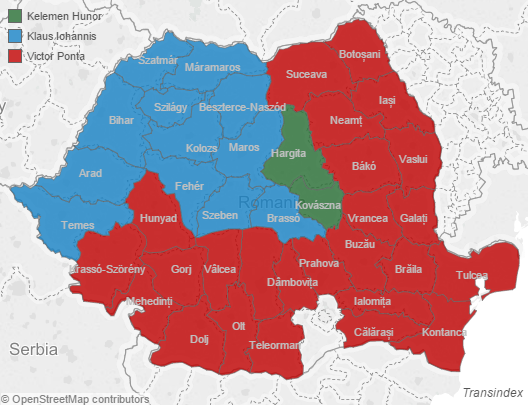 Blue represents counties that supporter Mr. Johannis, while those in red voted for Mr. Ponta. The two Hungarian-majority counties of Székelyföld, or Szeklerland, voted for Mr. Kelemen, of RMDSZ. Illustration produced by Transindex.ro and based on 98% of the votes.