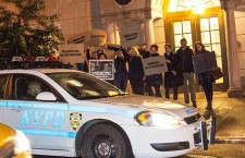Demonstration at the Hungarian Consulate in NYC. Ferenc Kumin calls the NYPD to deal with the peaceful protesters.