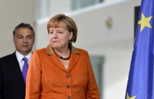 Angela Merkel with Viktor . AFP/Odd Andersen.