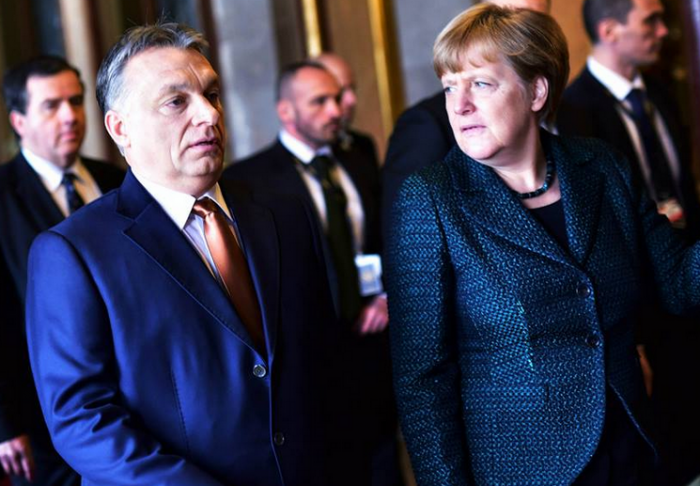 Mr. Orbán and Ms. Merkel in Budapest on Monday. Photo: Parliament of Hungary