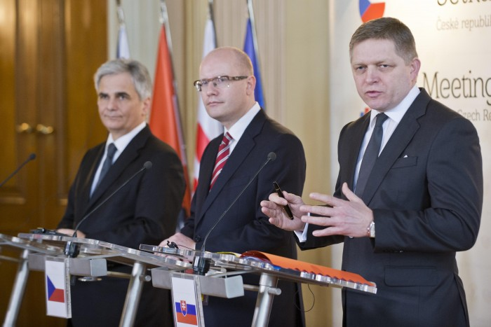Federal Chancellor of Austria Werner Faymann (far left), Prime Minister  Bohuslav Sobotka of the Czech Republik, and Prime Minister of Slovakia Robert Fico in Slavkov on 29 January 2015.