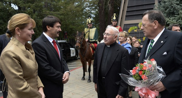 Father Maurus (in the middle) greets Hungarian President Mr. Áder at the Woodside Priory in 2013