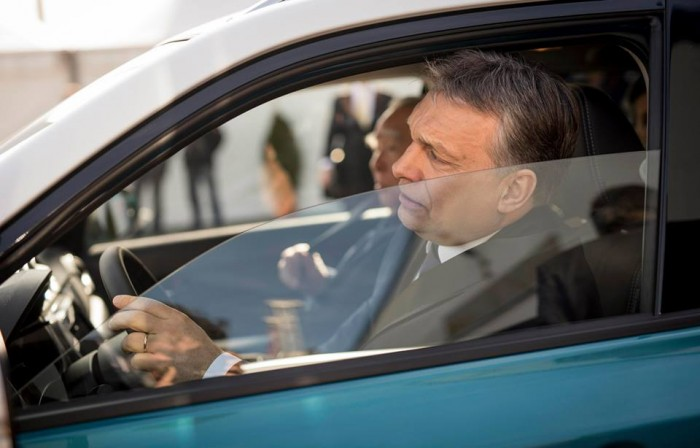 Mr. Orbán drives away... Photo: Facebook.