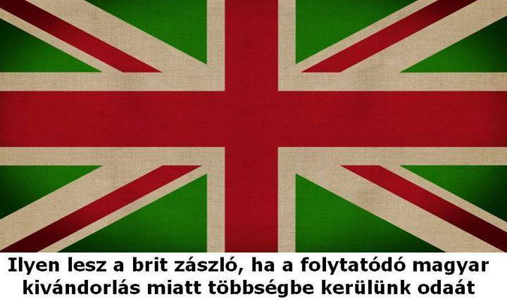 A rendering of the UK flag, referring to the rapidly growing number of Hungarians living in Britain. Hungarians now number over 300,000 in the British capital and are increasingly forming organized diaspora community associations, often through Facebook. Photo: Londoni Magyarok Közösség Facebook group.