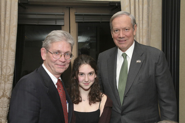 Good friends - Mr. Hámos (with glasses) and Gov. Pataki with Mr. Hámos's daughter Julia, who is a promising pianist.