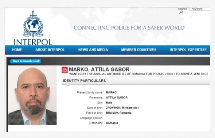 Attila Markó is on Interpol's most wanted list.