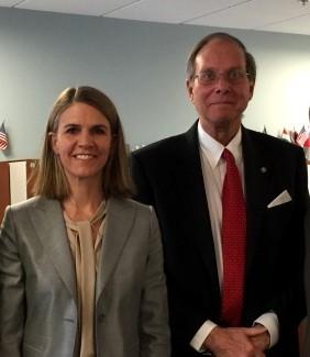 Colleen Bell, US Ambassador to Hungary and Mr. Koszorus.