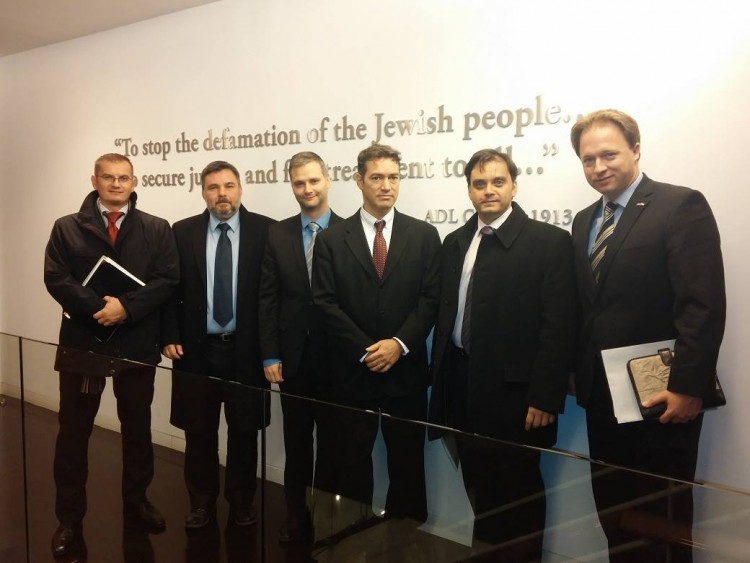 "Mr. Kumin's ""misinformation team"" in action at ADL.  From right: Mr. Kumin, Mr. Csaba Latorcai junior minister of the Orbán-government, Mr. Andrew Srulewitch ADL director, Mr. Dávid Singer cultural attaché at the Washington embassy, Mr. György Szabó, a Fidesz operative, currently head of MAZSÖK, Mr. Gábor Galik section head in PM Orbán's office."
