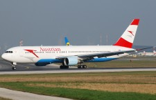 Austrian Airlines flight at the Vienna International Airport.