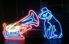 RCA Victor's Nipper in neon wonderland. The trademark of the Victor Talking Machine Company, in neon rendition. Source: The Reflecting Light blog,