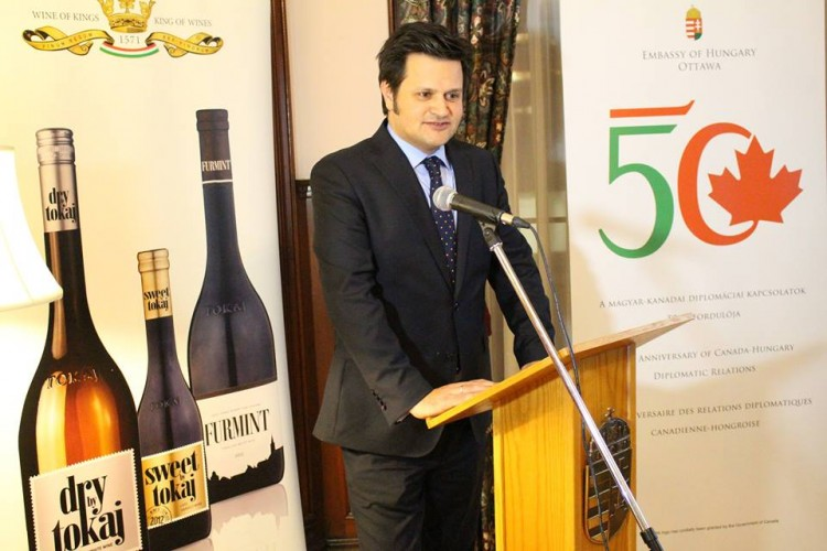 Ambassador Bálint Ódor promoting Vinum Tokaj Canada Inc.'s wines at the Embassy of Hungary in Ottawa.