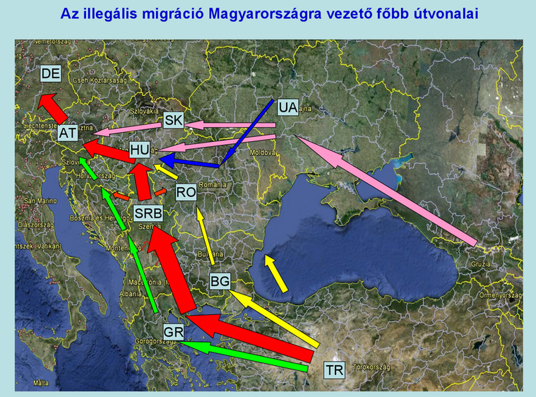 This map, produced by Hungary's Office of Immigration and Citizenship, shows the flow of migrants arriving in Hungary.