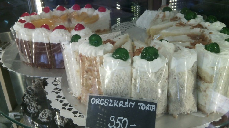 A selection of cakes during my visit to Jégbüfé in March 2015. A slice for 350 forints (circa $1.60) is a reasonable price, and still considered affordable for most Hungarians.