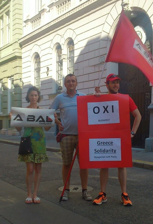 Balpárt's protest in Budapest, in support of Syriza. Left to right: Anna Hortobágyi, Szilárd Kalmár and Ádám Galba-Deák. Photo: Balpárt.