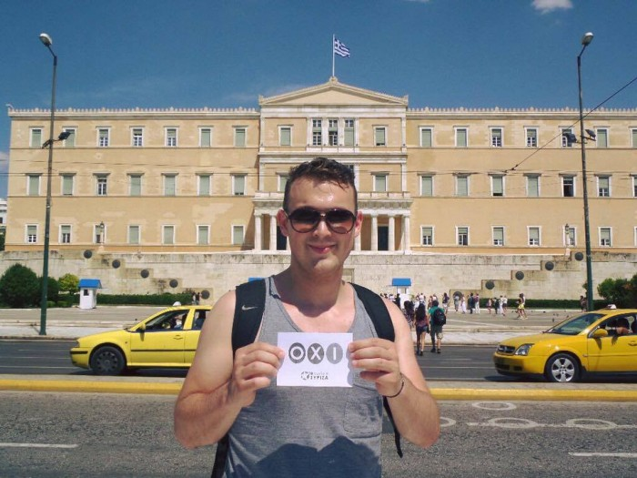 A member of Balpárt's leadership team, Tibor Berta, protests in Athens, alongside the OXI camp. Photo: Balpárt.