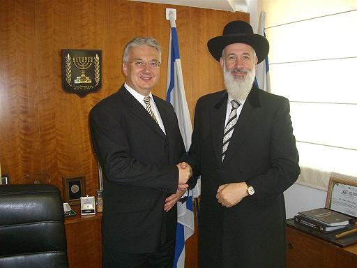 Christian Democratic People's Party leader Zsolt Semjén with Chief Rabbi Metzger.