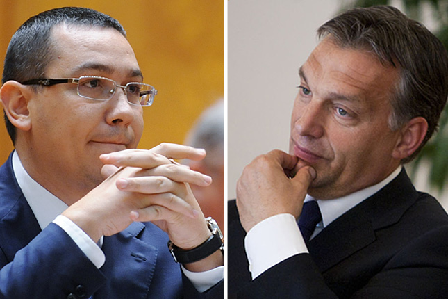 The two Vic(k)tors: Victor Ponta of Romania (left) and Viktor Orbán of Hungary (right).