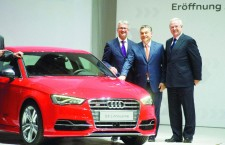 Audi Hungaria boss Mr. Rupert Stadler, Prime Minister Viktor Orbán and VW boss Mr. Martin Winterkorn at happier times.