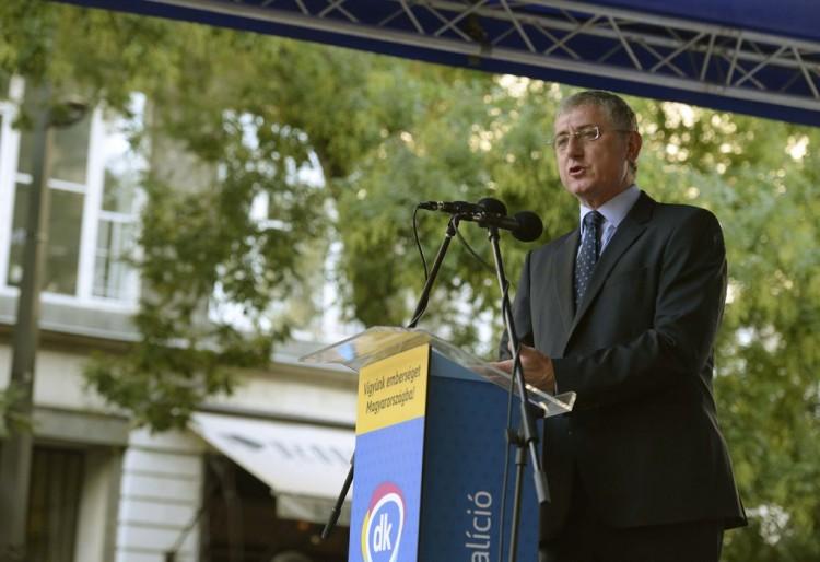 Ferenc Gyurcsány speaking in Budapest on September 13th. Photo: Noémi Bruzák / MTI.