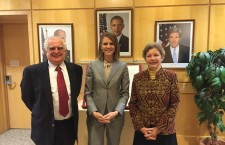 Ambassador Bell (in the middle) with Ms. Edith Lauer and Mr. Zsolt Szekeres of the Hungarian American Coalition.