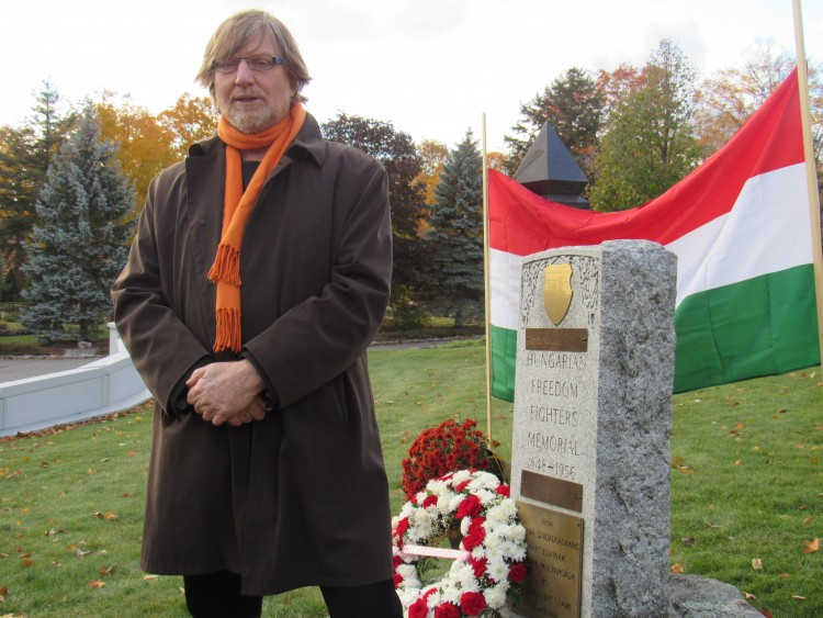 András Göllner speaking in front of the 1956 Freedom Fighters' Memorial in Ottawa. Photo: C. Adam