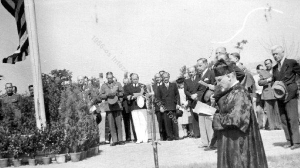 Rabbi Ferenc Hevesi inaugurated the American military cemetery after WWII with President of Hungary Zoltán Tildy.