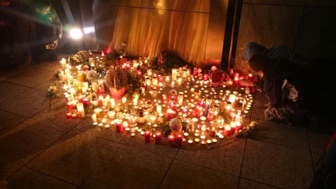 A photo posted on Socialist MP Márta Demeter's Facebook page from the vigil held in front of the French Institute in Budapest.