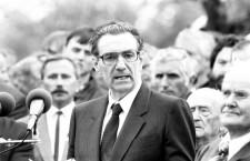 Sándor Kopácsi in 1989, at Imre Nagy's reburial.  Photo: László Varga.