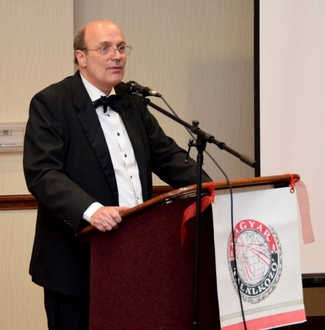 Hungarian Consul General in Chicago, Mr. Ferenc Szebényi speaks at the 55th Hungarian Congress in Cleveland.