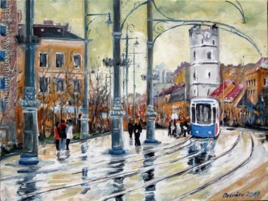Streetcars in Debrecen. Illustration: György Ozsváth.