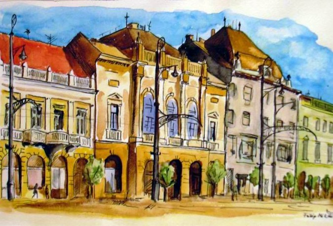 Debrecen / Watercolour painting by Miklós Fülöp.