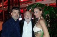 Mr. Hasulyó (in blue shirt) with film and media mogul Andy Vajna and his wife Timi  (Mr. Vajna has recently purchased channel TV2 in Hungary.)