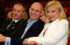 The leader of the Hungarian Socialist Party, József Tóbiás (middle) with his wife, Tímea Rába.