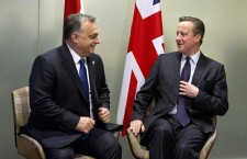 British Prime Minister David Cameron, right, speaks with Hungarian Prime Minister Viktor Orban during a meeting on the sidelines of an EU summit in Brussels on Friday, Dec. 18, 2015. European Union leaders are reconvening in Brussels for the final day of their year-end summit with a wide-ranging agenda including how to build greater economic unity among their 28 countries and stepping up the fight against terrorism. (AP Photo/Virginia Mayo, Pool)