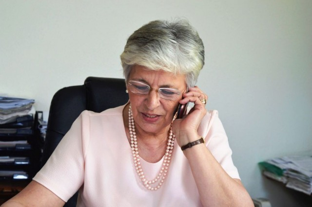 Mrs. István Galló, leader of the PSZ union.