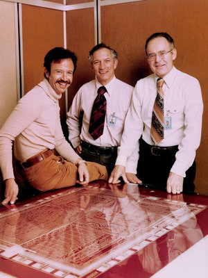 Grove, Noyce and Moore with the microprocessor model.