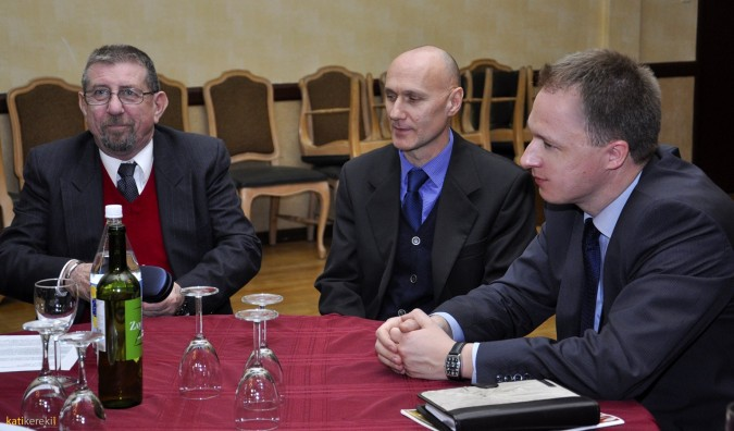 Mr. Pereházy (left) coordinates strategy with Hungarian diplomats Mr. László Kálmán (Los Angeles) and Mr. Ferenc Kumin (New York).