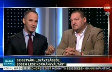 Viktor Szigetvári (left) vs Szilárd Németh (right) debating on ATV.