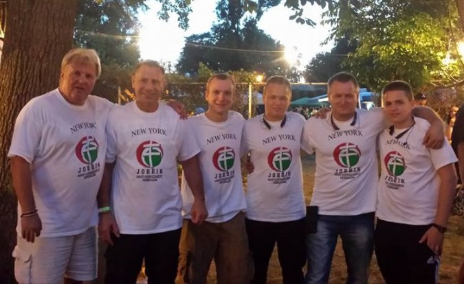 New York Jobbik party members line up for group photo.