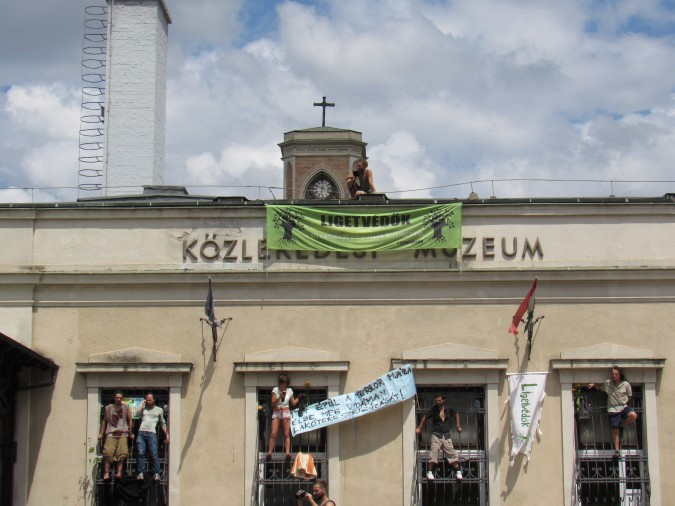 Pro-democracy demonstrators occupy the Hungarian Technical and Transportation Museum on June 28th. Photo: C. Adam