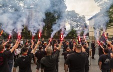 Hungarian neo-Nazis stage a demonstration in Budapest in front of the Embassy of Romania on National Cohesion Day, June 4, 2016.