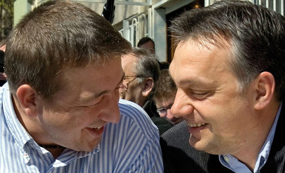 Orban and his old friend and main anti-Semitic journalist, Zsolt Bayer, having fun.