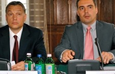Old friends: Gábor Vona, leader of the neo-Nazi Jobbik party, lectures Orbán on democracy.