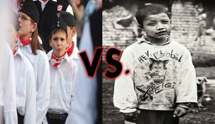 Young Hungarian Nazis-in-training and the Roma children that they aim to terrorize.