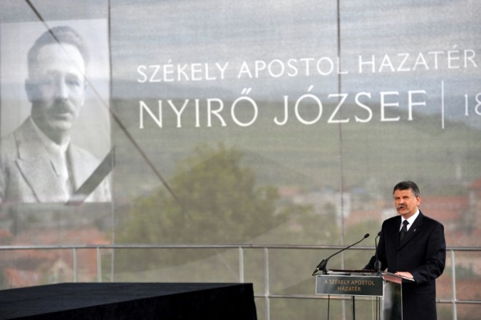 The reburial of fascist politician and author József Nyirő - House Speaker László Kövér speaks.